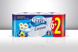 Toalettpapír Perla Caresse 3rét 150lap 6+2tek kamillás 7cs/karton