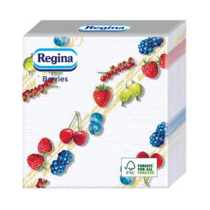 Szalvéta 1rét/45lap 29×30 Berries bogyósmintás Mix(2) 36csom/32krt/rkl Regina